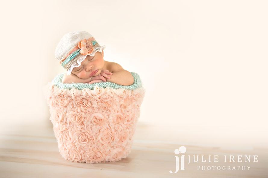 flower peach bucket newborn baby