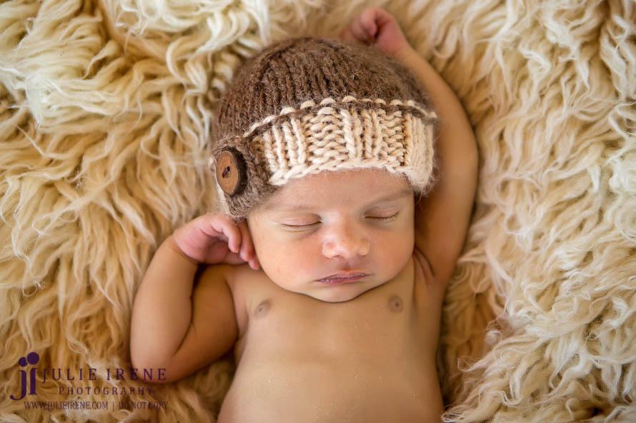 OC Baby Newborn Photo stretch boy brown hat
