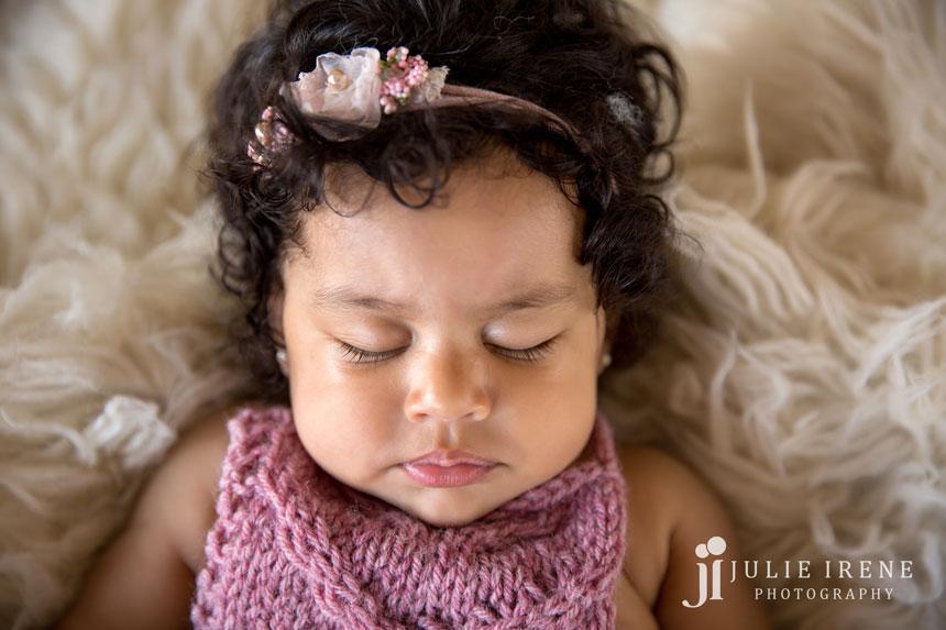 4 months baby sleeping Leona closeup
